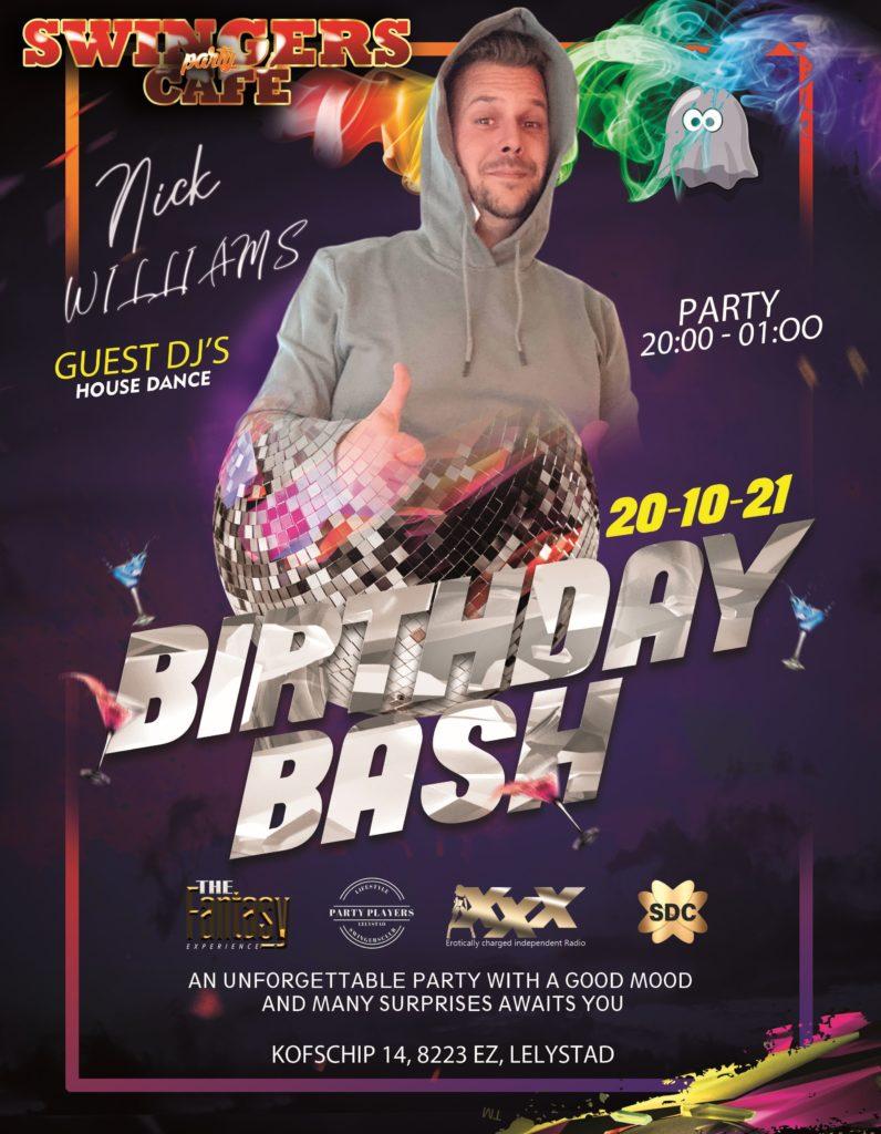 DJ Nick's Birthday Bash (SWINGERS PARTY CAFÉ_ RESERVEREN Graag email sturen naar reserveringen@partyplayers.nl Het contactformulier is niet bedoeld voor reserveringen op de site van www.partyplayers.nl Groet PP Team